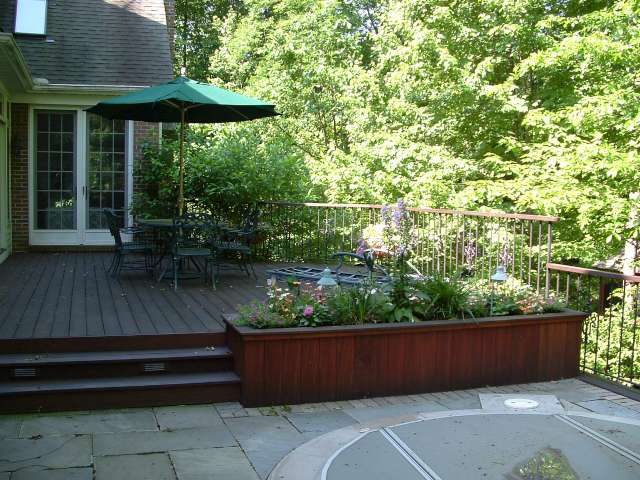 View of Spa and Deck with built in planter, near Chagrin Falls Ohio.