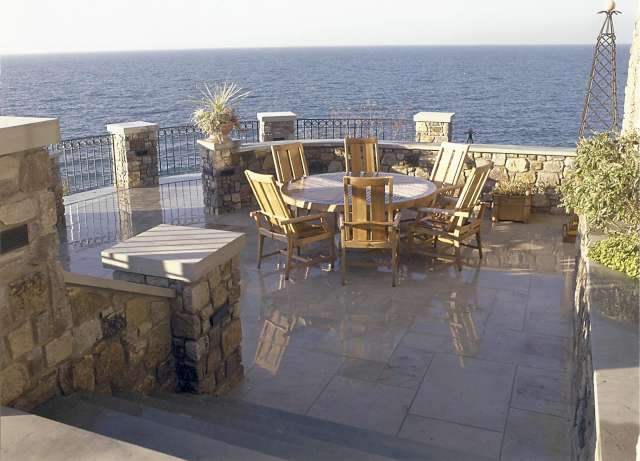 Dining Terrace overlooking Lake Erie designed by Landscape Architect, near Cleveland Ohio.