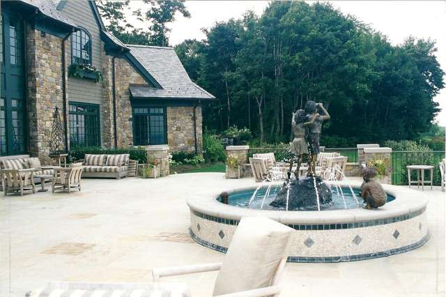 Main Terrace with water fountain and sculpture, residence located close to Cleveland Ohio.