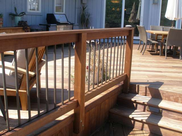 Beautiful custom designed woodwork is part of this outdoor deck.