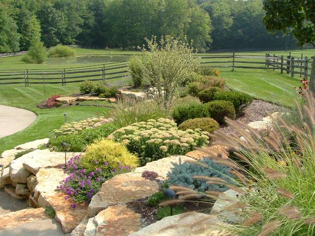 Softscape design by Landscape Architect featuring natural stone with trees and shrubs filling the beds.