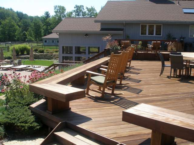 Landscape design resulted in deck overlooking hillside and patio in Solon, near Moreland Hills Ohio.