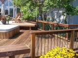 Main deck and built in spa in Solon Ohio, designed by landscape architect.