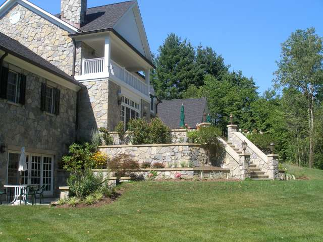 Landscape design project in Northeast Ohio, near Cleveland, showing main terrace and walls.
