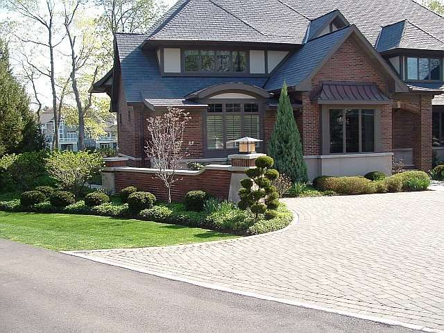 Landscaped main entrance of residence in Northeast Ohio, designed by Douglas Nemeckay, Landscape Architect.